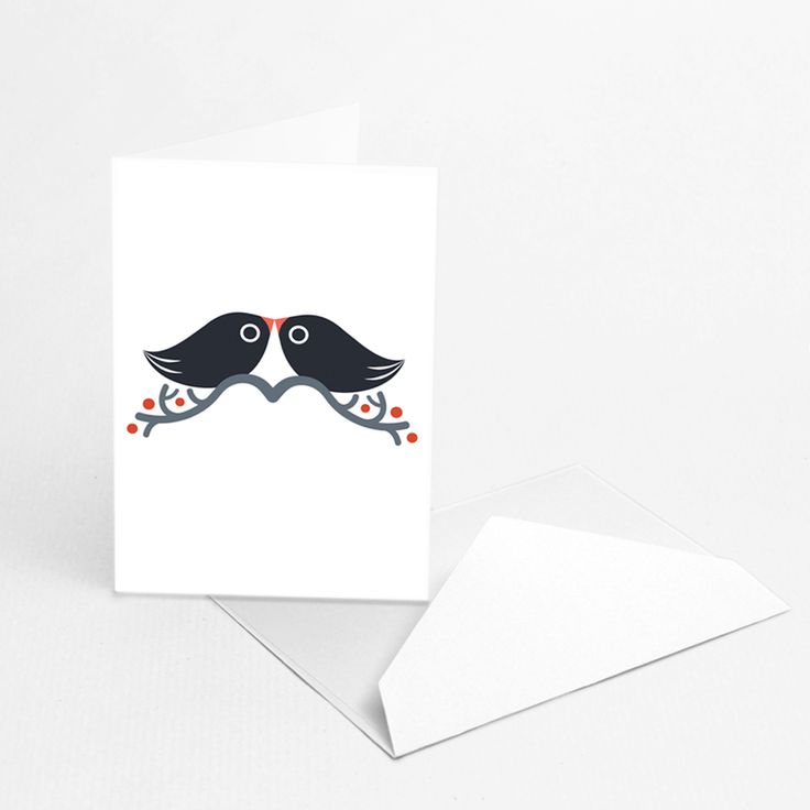"Mustache Love  by Hikimi  ""Mustache Love"" greeting card was designed by Hikimi. If you look closely the mustache are everywhere! The eco-friendly packaging made of GSK paper, contains 1 greeting card with envelope (white or colored). Perfect for those you love, or for those who love mustaches or birds."