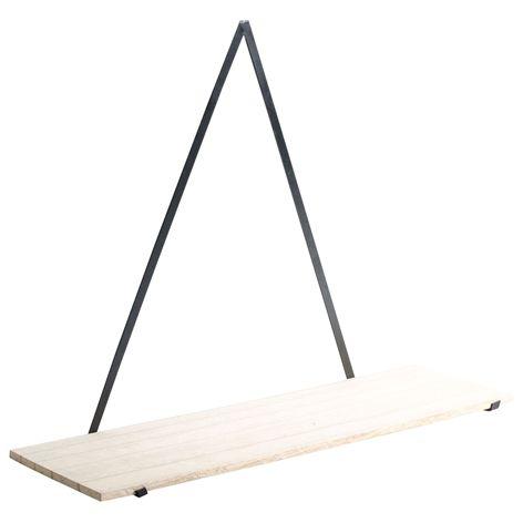 Hylla TRES . 45x13,5x34 cm . Stilren vägghylla med konsoll i metall och hyllplan i ljus trä. Bör fästas vid tre punkter för säker upphängning. Skruvar och besl