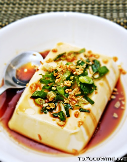 To Food with Love: Silken Tofu with Bonito Soy and Spring Onions