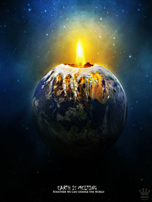In this poster, the earth with a candle inside and the surroundings is melting which show the problem of global warming is getting worst.