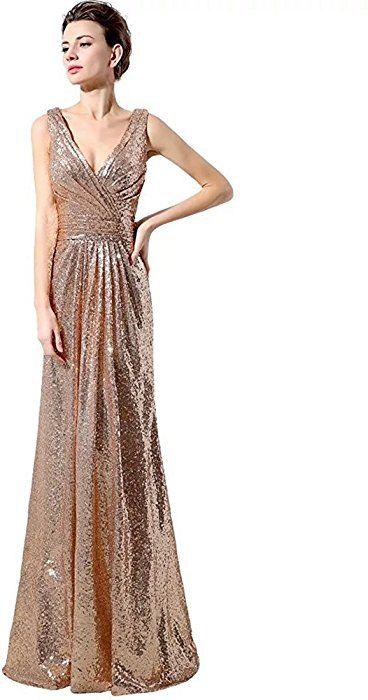 Lanierwedding Gold Sequins Bridesmaid Dresses Plus Size Prom Dresses