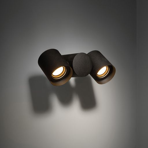 Lowie is the noble member of a highly versatile outdoor family. Together with Lowieze, they will turn your garden into a theatrical spectacle, like light binoculars. Lowie (for wall mounting) is a perfect example of form blending with function. The cylindrical light units can rotate fully around the body, which is also a cylinder, and can therefore be used as uplighters or downlighters independently of each other. #lowie #supermodular