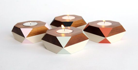 Geometric tealight holder  ancient kauri by GwynethHulseDesign