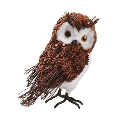 "10.5"" Modern Lodge Decorative Rustic Pine Cone Owl Christmas Table Top Figure"