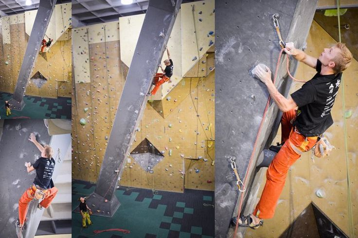Michał Jaworski climbing one of the problems at    annual competition in Sosonowiec