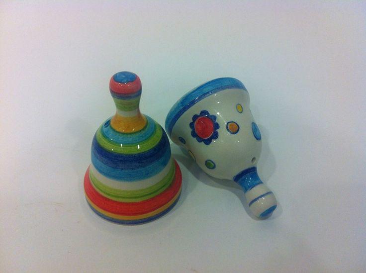 Campanelle in ceramica smaltata fatte e dipinte interamente a mano
