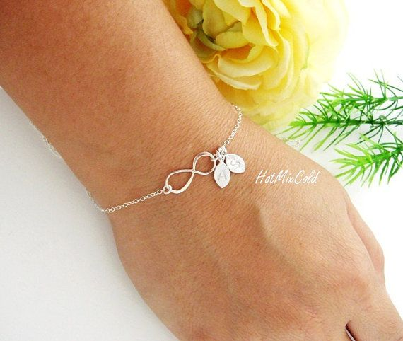 Infinity Bracelet, TWO Initials Bracelet, Personalized Infinity jewelry, Monogram Bracelet, Couple Monogram Jewelry, Mothers bracelet on Etsy, $31.00