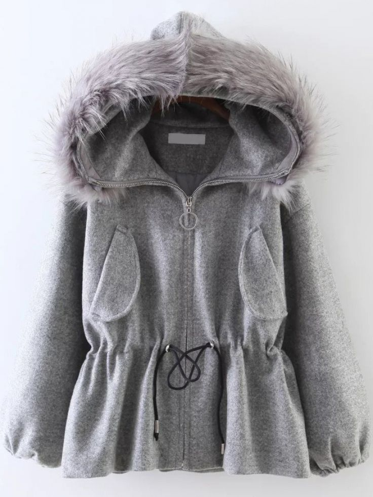 Buy Grey Drawstring Waist Faux Fur Hooded Coat from abaday.com, FREE shipping Worldwide - Fashion Clothing, Latest Street Fashion At Abaday.com