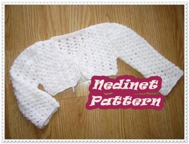 Crochet bolero PATTERN 2-10 years sizes
