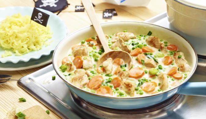 Der Piratenschmaus – ein Teller voller leckerem Gemüse, Putengeschnetzeltem und würziger Sahnesauce