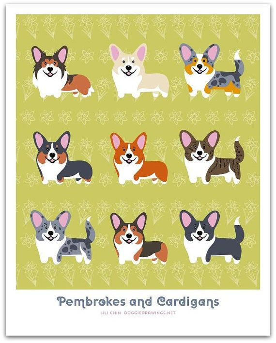 This was a custom order request from a group of Corgi parents.    The Pembroke and Cardigan Corgis originally appear in the WELSH DOGS print -