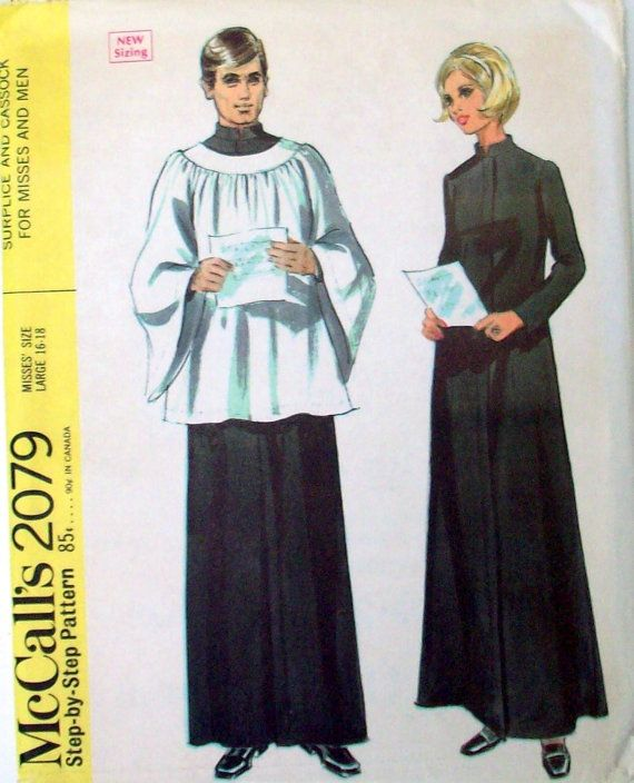 sewing patterns, clergy robes | Sewing Pattern, Costume, Clergy, Vintage McCalls 2079, Halloween ...