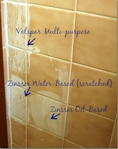 """priming over tile. I actually also used the zinsser """"stain block"""" oil based primer to paint over furniture wax that had been used to create an antique look on my kitchen cabinets. Valspar paint/primer scratched off easily but Zinsser worked like a charm. Can't recommend it enough for good coverage on hard to paint surfaces. Can be painted with any topcoat - I used semi gloss latex over top."""