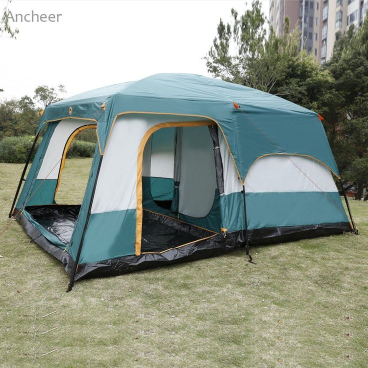 8-Person, Luxurious 2-Bedroom, 1-Living Room Tent with Extra Sun Room and Rainfly