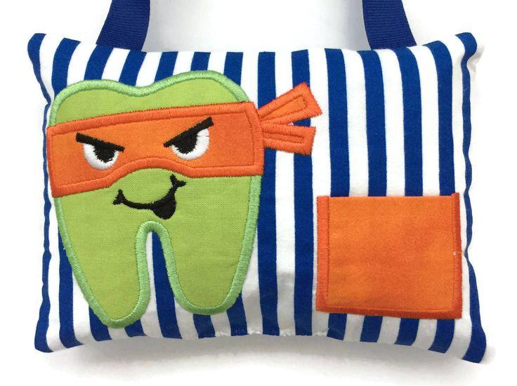 Boys Tooth Fairy Pillow Ninja - Child's Tooth Fairy - Tooth Pillow Boy - Lost Tooth Pillow by NancysLittleBoutique on Etsy