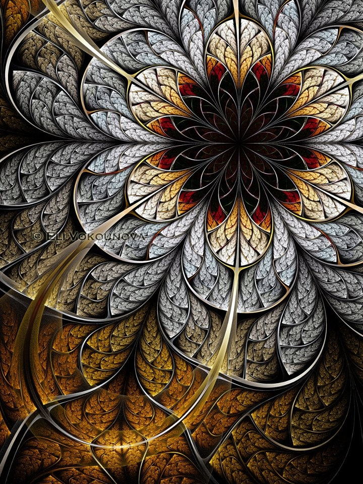 Fractal Art by Eli Vokounova: Mosaics, Fractal Art, Colors Design, Digital Art, Fractals Art, Art Flowers, Fractalart, Flowers Art, Stained Glasses