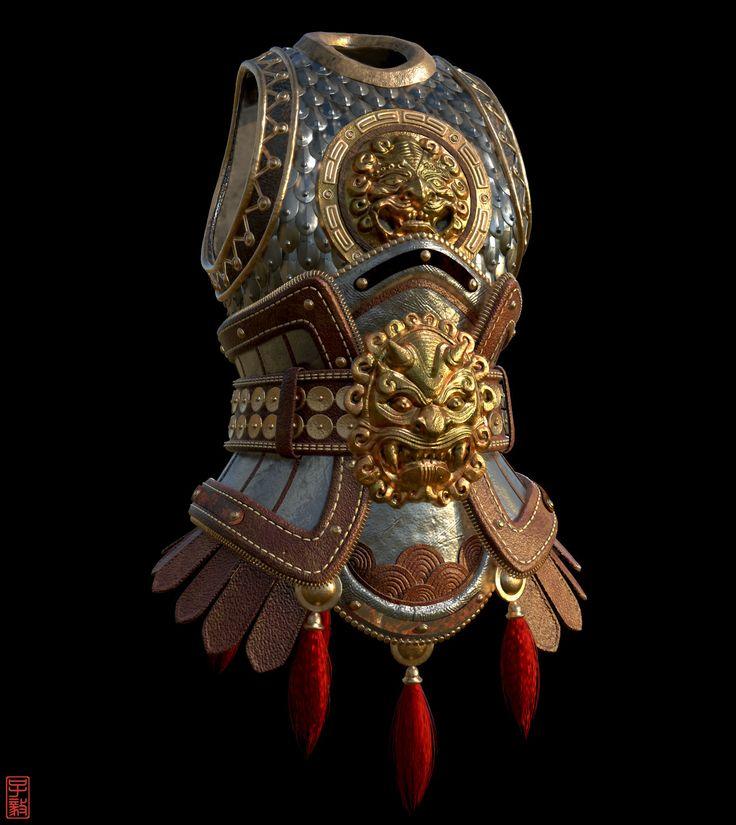 Chinese Body Armour II (Original by Alexandre Fiolka), Zaczphere (Zac Goh) on ArtStation at https://www.artstation.com/artwork/0L1Bw