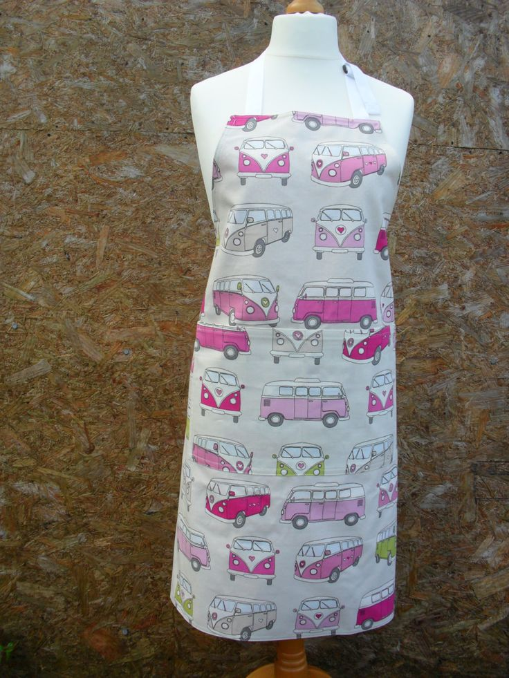 VW Camper Vans, reversible apron.  Adult apron. Reverse is cerise pink with…