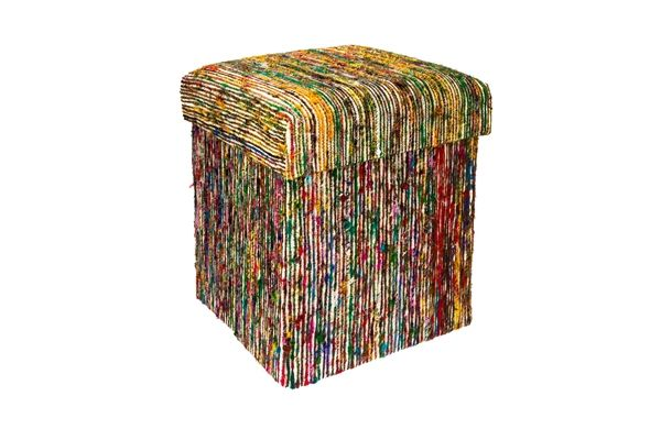 Casa Uno Recycled Silk Saree Collapsible Storage Ottoman Foldable Seat Pouffe
