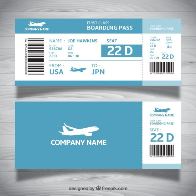 Boarding pass template in blue tones Free Vector