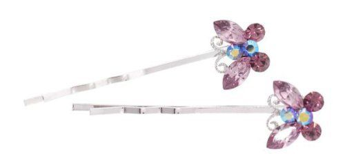 Bobby Pin - bobbypin0021 - purple by LongHairGirl. Save 20 Off!. $8.49. Decorated with Swarovski crystals. Rhinestone. Imported. This set of SWAROVSKI CRYSTAL pin measure approximately 1.75 inches long.