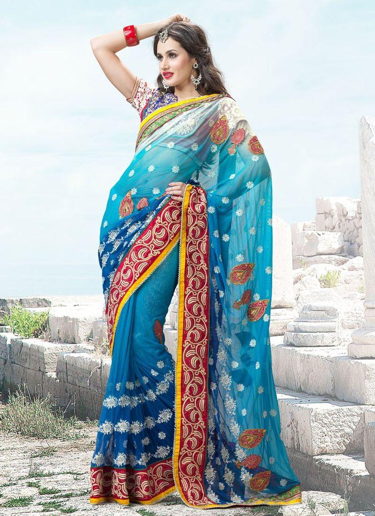 Amazing Blue Net Wedding Saree
