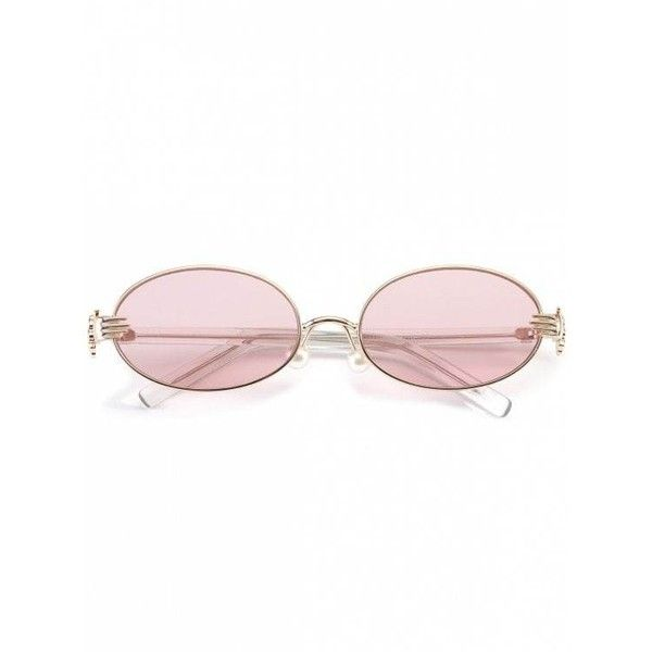 Metal Hand Faux Pearl Nose Pad Oval Sunglasses Pink ($7.04) ❤ liked on Polyvore featuring accessories, eyewear, sunglasses, nose pads glasses, oval glasses, metal sunglasses, oval sunglasses and pink glasses