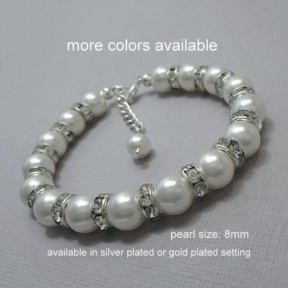 White Pearl Bracelet, Bridal Bracelet, Bridesmaid Bracelet, White Pearl Bracelet, Mother of the Bride Gift, Wedding Bracelet, Pearl Bracelet