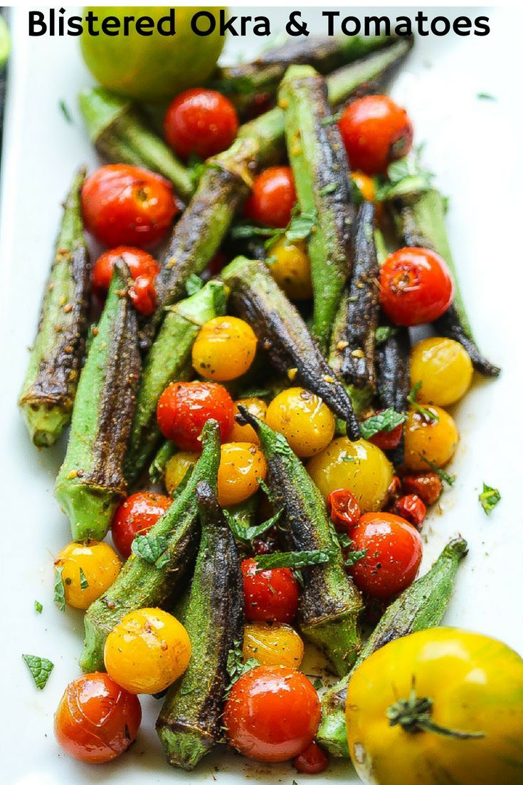 Simple 5 Ingredient Blistered Okra And Tomatoes Recipe Okra And Tomatoes Okra Recipes Recipes