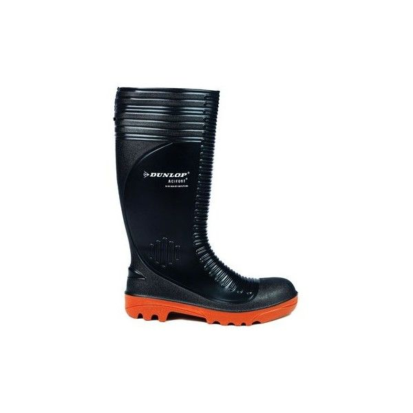 Dunlop Acifort A252931 Ribbed Full Safety Wellington Wellington Boots ($48) ❤ liked on Polyvore featuring shoes, boots, black boots, dunlop boots, black rain boots, black shoes and black wellington boots