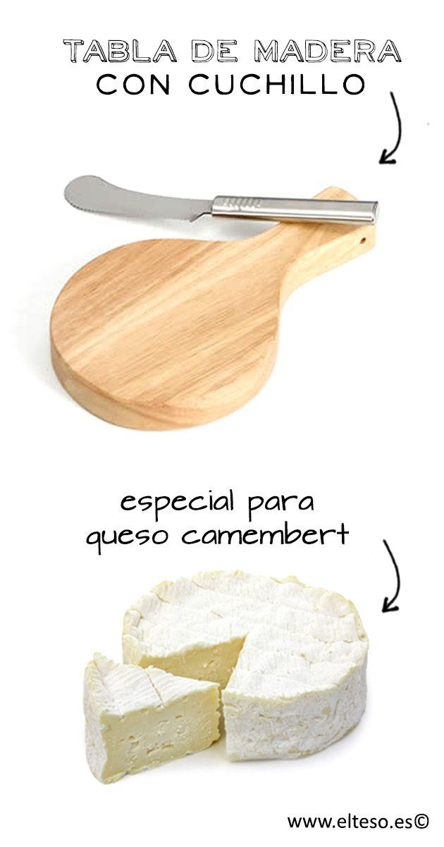 TABLA PARA QUESO CON CUCHILLO, especialmente indicada para queso camembert, brie, tortas ...