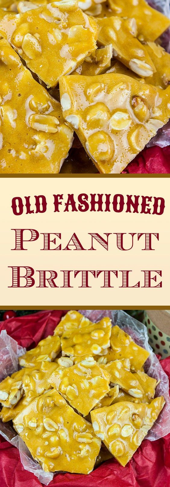 Old-Fashioned Peanut Brittle - A deliciously sweet, crunchy candy loaded with salty peanuts that's sure to please. Great for Christmas gifts, holiday candy trays, or all year long sweet.