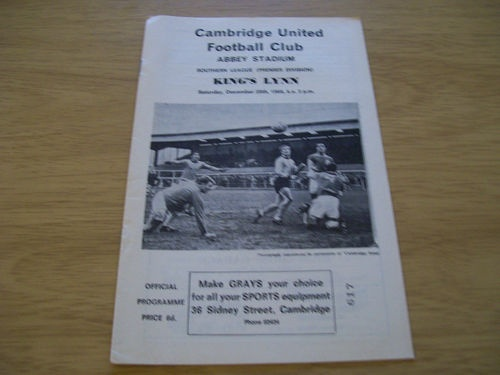 Away to Cambridge United , King's Lynn FC  28.12.1968 - Southern League