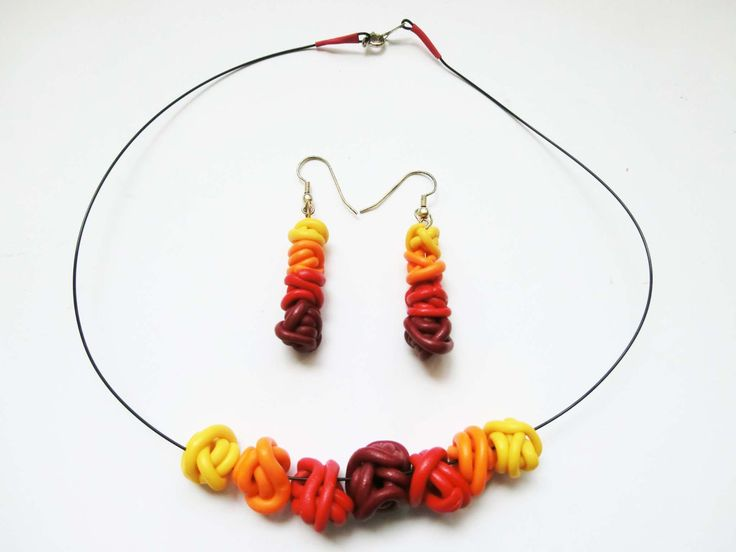 SALE Yellow red Fimo set necklace with earringsbeads of polymere clay wires in gradient colours/ dangle beads earrings in shaded colours (10.00 EUR) by atelierJOKO
