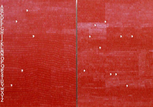 Alighiero Boetti Verbi Riflessivi, 1983 ball-point pen ink on paper 2 panels; 39 3/8 x 55 1/8 inches 100 x 140 cm