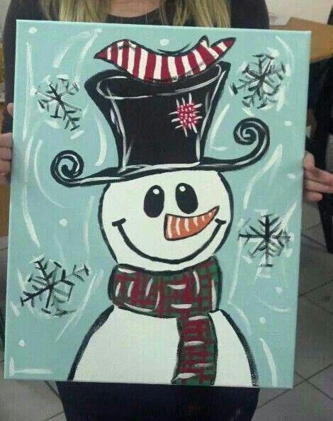 Snowman canvss painting