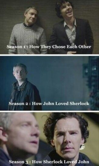 And how they love each other so much and won't fucking admit it! Sherlock loves john so much and the whole of season three is spent on sherlock learning that despite their beautiful relationship before that the fall broke john and that now he is back on his feet he has moved on, but sherlock can't stop loving him. Over and over again he has hurt himself for john's well being. And john knows that too, Magnussen saying that john was his pressure point reinforced the fact that sherlock would do…