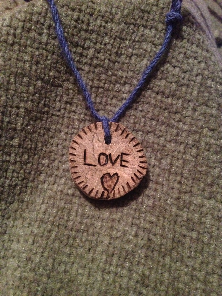 Unique Woodburned Love Pendant by FireWoodCrafts on Etsy, €9.00