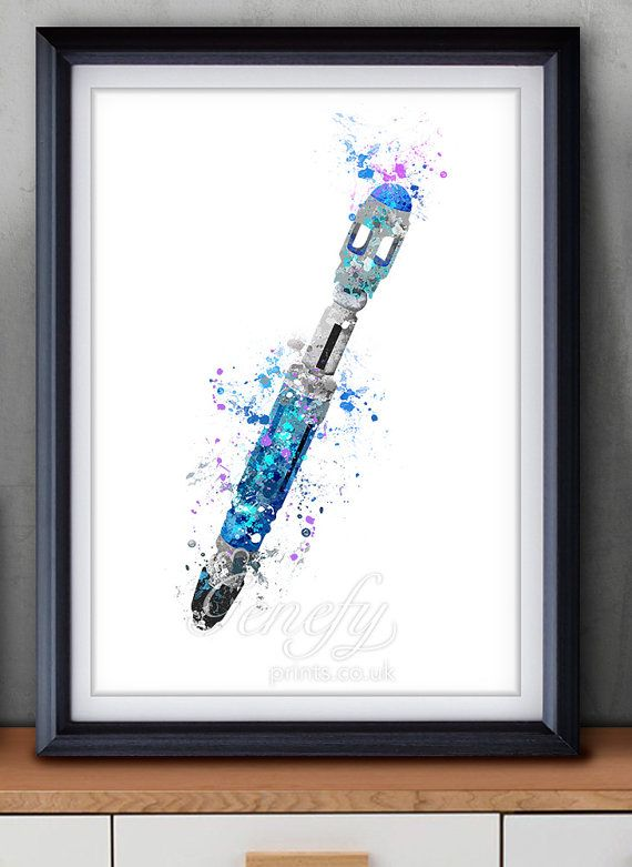 Doctor Who Tenth Doctor  Sonic Screwdriver Watercolor Art Poster Print - Wall Decor - Watercolor Painting - Home Decor  - Nursery Decor