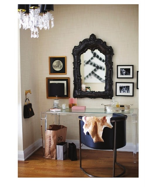 nice victorian style mirror and modern desk
