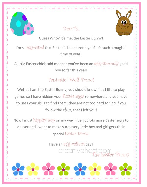 Letter from the easter bunny free printable everything for Letter to easter bunny template