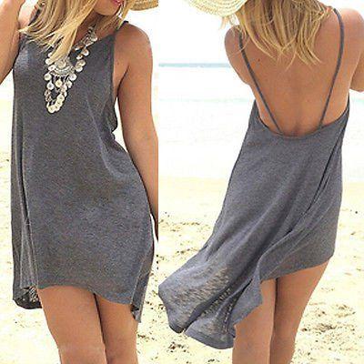 Sexy Women Summer Sleeveless Backless Casual Boho Mini Dress Party Short Mini Dress Beach Dresses Sundress