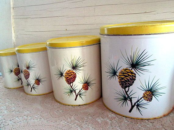 1950s Metal Yellow Nesting Canisters With Pine Cones. Vintage  CanistersKitchen ...