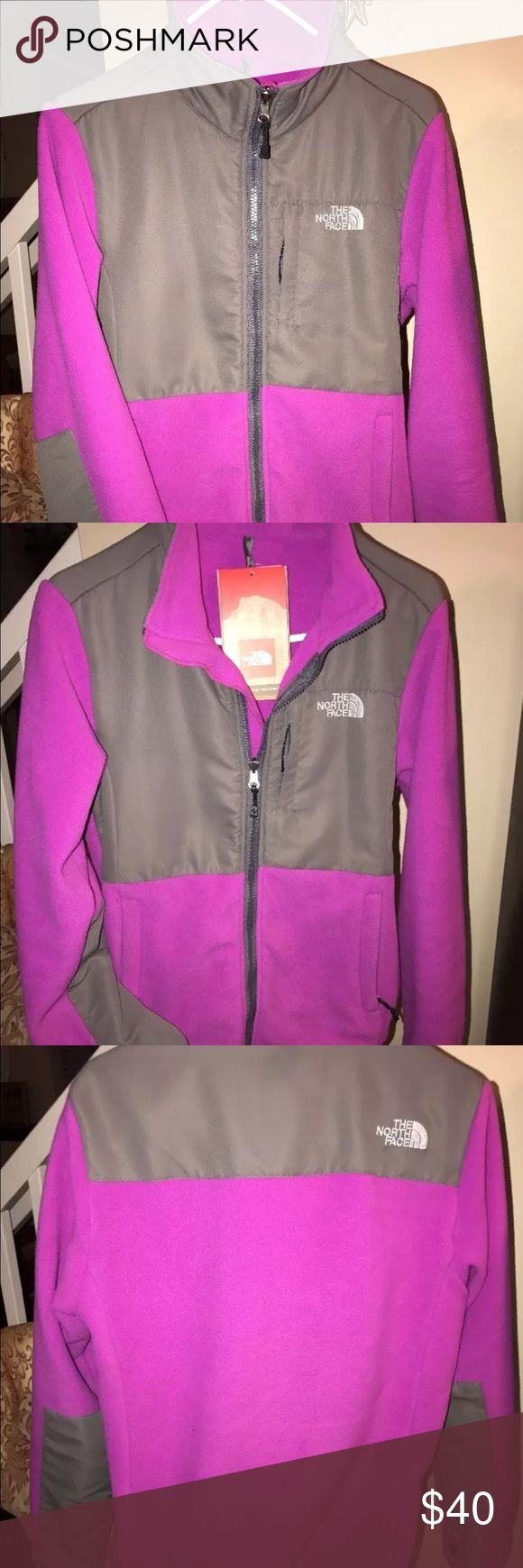 New NWT North Face purple Denali polartec jacket new with tags North face women's Dinali jacket in size small. The color is a dark purple and gray. Features a full zip style with zipper pockets on sides and on chest. Polartec fleece material makes this jacket super warm as your base shell for your ski jacket system or as a regular every day coat!  I purchased two of the same color- one for me one for my daughter and we ended up sharing the one. In excellent like new condition. Comes from a…