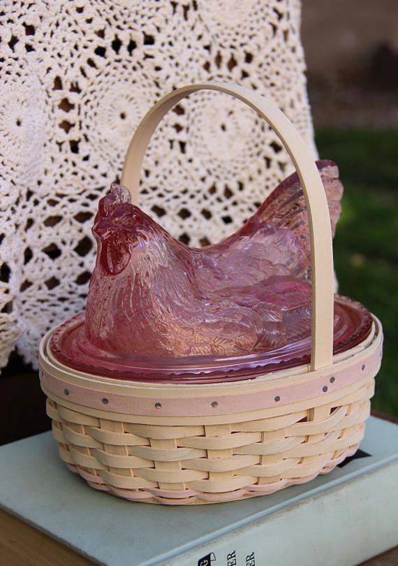 Longaberger  Pink Glass  Pink Hen  Hen on Nest  Hen Decor