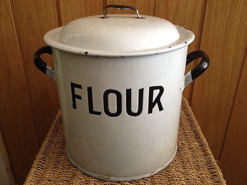 Vintage Enamel Flour Tin Embossed Ebay Flour