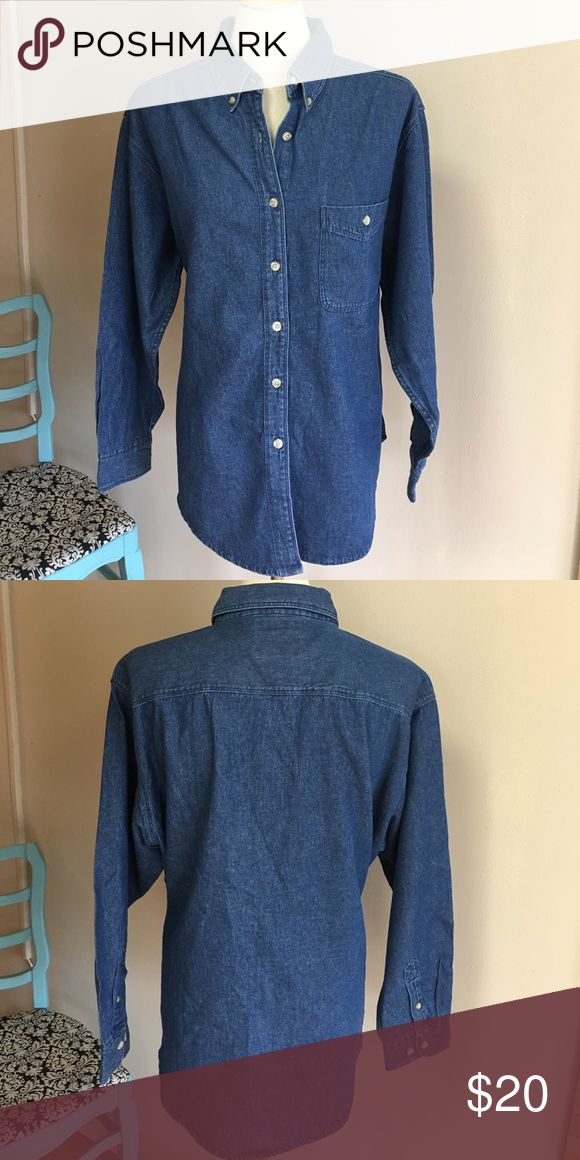 Ladies denim shirt These are Ladies denim shirts that I overbought for an embroidery order, I would be happy to add your monogram for an additional $8 prior to shipping the shirt to you if it's something that you're interested in! Wrangler Tops Button Down Shirts