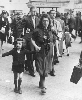 Germany, September 1941, A mother wearing the Jewish badge, with her daughter. Both did not survive the holocaust