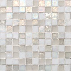 "Oceanside Glasstile...Collection Name: Tessera...Color Name: Veil...Components: Oxygen Irid, Oxygen Matte, ...Components:  White Irid, White Matte...Item Description: 1 x 1 Field...Square Feet Per Sheet: .96...Sheet Size: 11 3/4"" x 11 3/4""...Thickness: .24""...Sample Item Number: 54292"