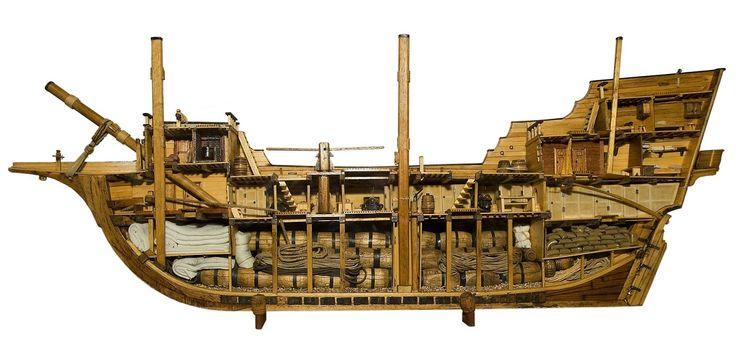 Corte de un galeón español de 550 toneladas métricas